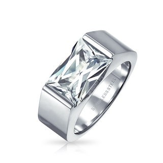 Geometric 4CT Square Cubic Zirconia Emerald Cut CZ Mens Engagement Ring For Men Silver Tone Stainless Steel