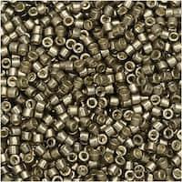 Miyuki Delica Seed Beads, 11/0 Size, 7.2 Gram Tube, 1852 Duracoat Galvanized Pewter Gold Tone