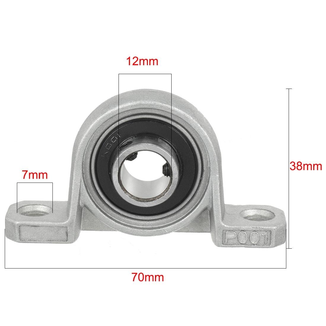 2pcs Diameter Iron Alloy  KP001 Pillow Block Housing Ball Bearing 12mm Inner