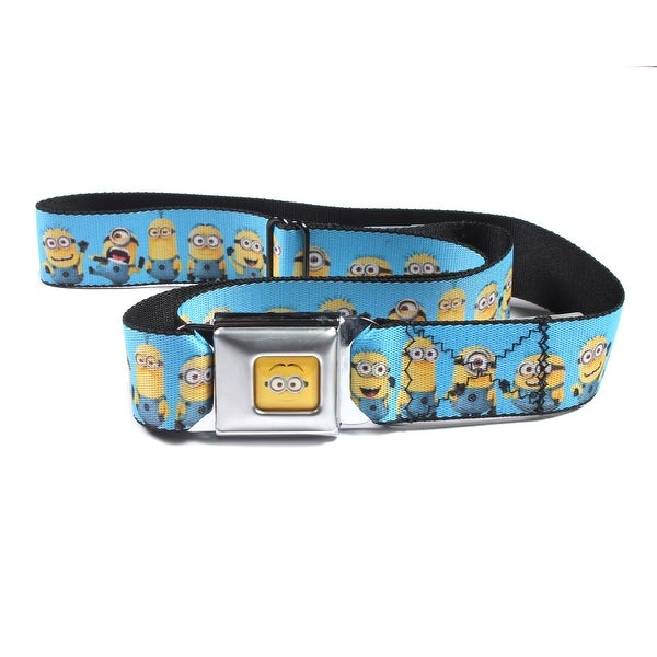 Despicable Me Seatbelt Belt - Minions Standing in Line w/ Expressions on Blue-Holds Pants Up