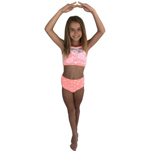 Elliewear Girls Coral Polka Dot Lace Top Brief 2 Pc Dance Set