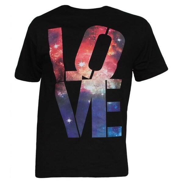 Mens Black Short-Sleeve Galaxy Love T-Shirt