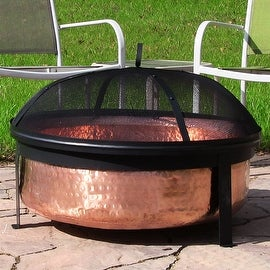 Sunnydaze Hammered 100-percent Copper Wood Burning Fire Pit with Spark Screen, 30 Inch