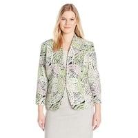 Kasper Mosaic Print Blazer Jacket Celadon Multi