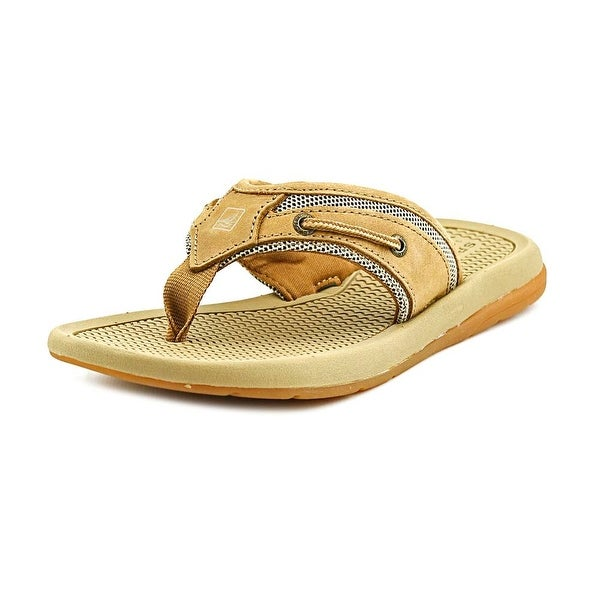 Sperry Top Sider Billfish Thong Youth  Open Toe Leather Tan Flip Flop Sandal