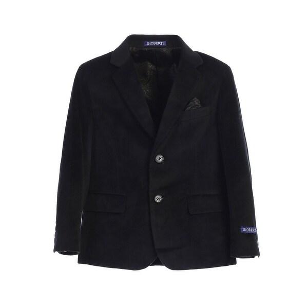 Little Boys Black 2 Button Formal Velvet Blazer