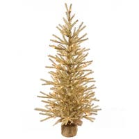 3' Pre-Lit Gold Artificial Christmas Tinsel Twig Tree in Burlap Base - Clear Lights