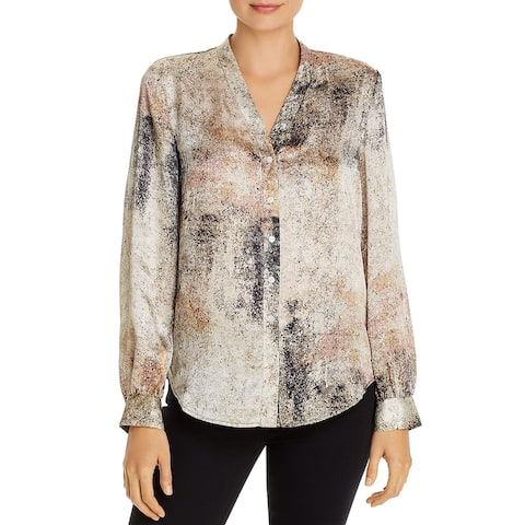 Eileen Fisher Womens Petites Button-Down Top Hi-Low Band Collar - Briar
