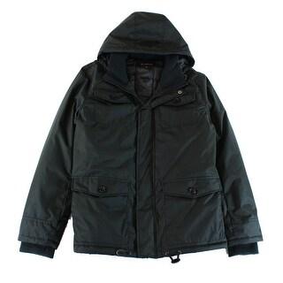 INC NEW Black Mens Size Large L 5-Pocket Hooded Windbreaker Jacket