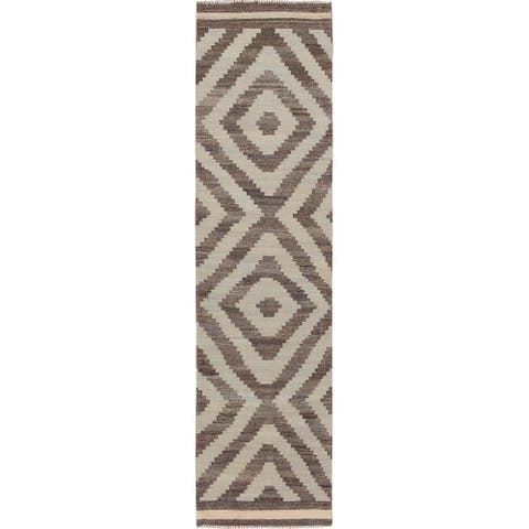 """Hand Knotted Brown Flat Weave with Wool Oriental Rug (2'3"""" x 9'4"""") - 2'3"""" x 9'4"""""""
