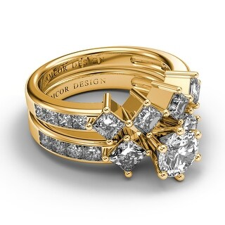 Amcor Design 14KT Yellow Gold 3 35 CT Channel Round Princess Cut Diamond Bridal Set