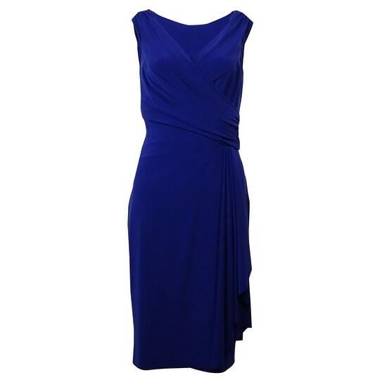a27499f8cad6c Shop Lauren Ralph Lauren Women s Surplice Ruched Jersey Dress - brilliant  purple - Free Shipping Today - Overstock - 15017972