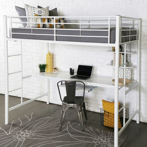 Taylor & Olive Abner Twin Metal Loft Bed with Desk - White
