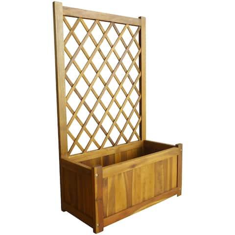 vidaXL Garden Raised Bed with Trellis Solid Acacia Wood
