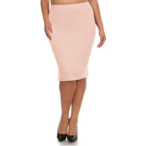 Women's Solid Plus Size Pencil Midi Skirt