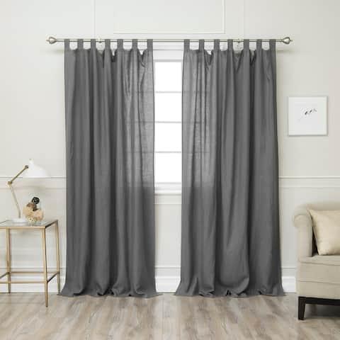 Aurora Home 100% Linen Silver Tab Top Curtain Set