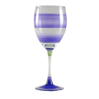 Set of 2 Purple Retro Stripe Hand Painted Wine Drinking Glasses - 10.5 Ounces