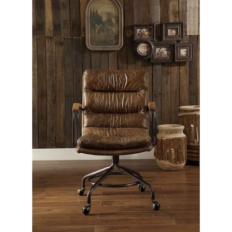 Moda Harith Office Chair in Vintage Whiskey Top Grain Leather
