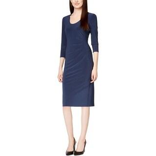 Anne Klein Womens Wear to Work Dress Matte Jersey Ruched