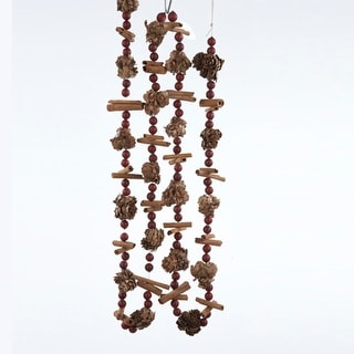 6' Decorative Pine Cone, Berry and Cinnamon Stick Christmas Garland - Unlit