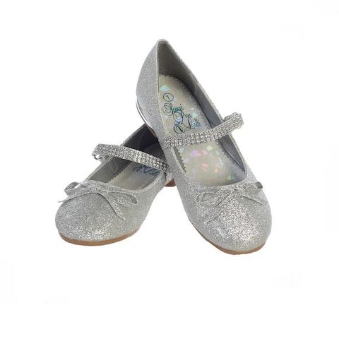 Girls Silver Glitter Rhinestone Strap Summer Dress Shoes
