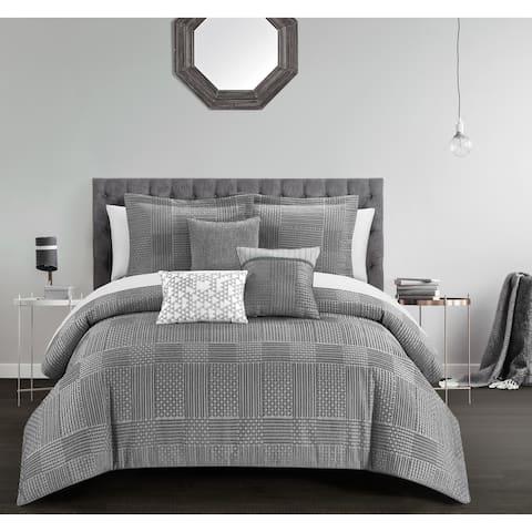 Chic Home Jodi 6 Piece Chenille Geometric Patterns Design Comforter, Grey