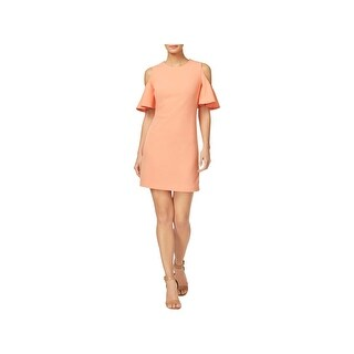 Calvin Klein Womens Petites Party Dress Ruffled Cold Shoulder