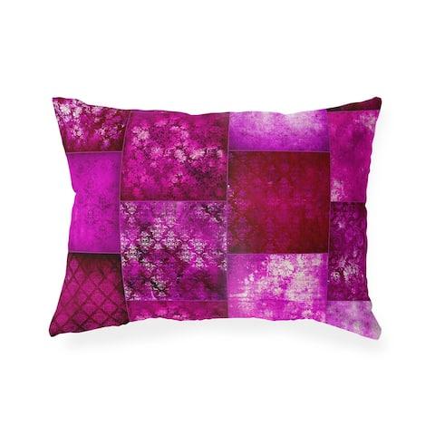 ECLECTIC BOHEMIAN PATCHWORK MAGENTA Indoor Outdoor Lumbar Pillow by Kavka Designs - 20X14