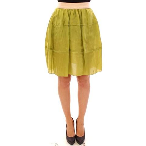 Dolce & Gabbana Green Silk Above Knees Full Skirt