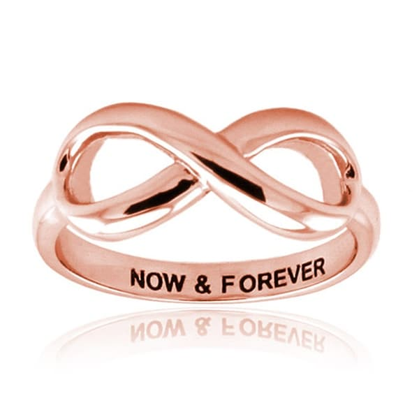 Sterling Silver Rose Gold Plated Now & Forever Infinity Ring