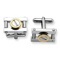 Chisel Stainless Steel with Gold IPG Cuff Links