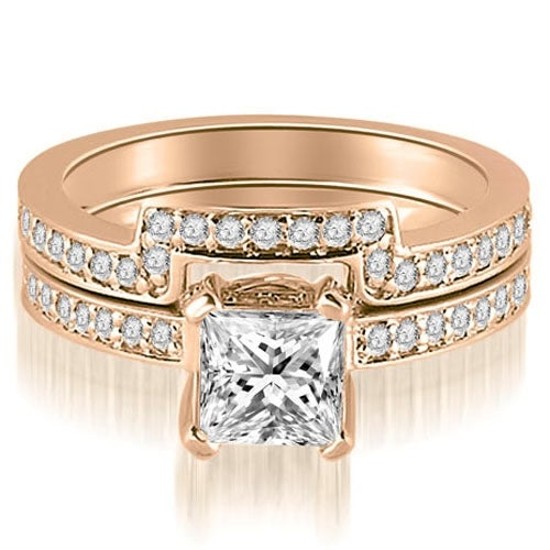 1.15 cttw. 14K Rose Gold Princess And Round Cut Diamond Bridal Set