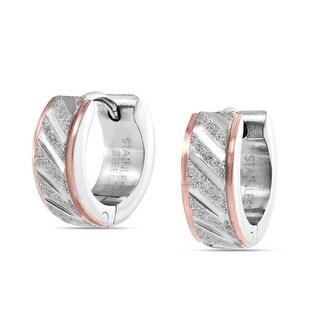 Bling Jewelry Mens Rose Gold Plated Steel Sandblast Small Hoop Hoop Earrings - Pink
