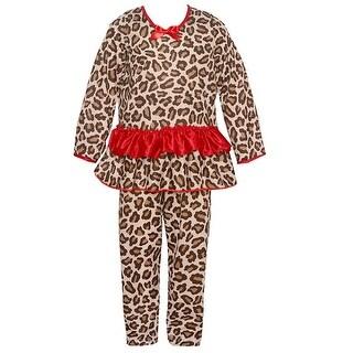 Laura Dare Little Girls Brown Red Leopard Print Ruffle 2 Pc Pajama Set