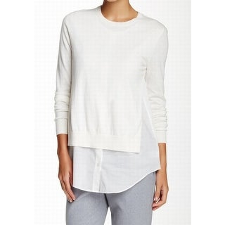 Theory NEW White Women's Size Medium M Twofer Sweater Knit Top