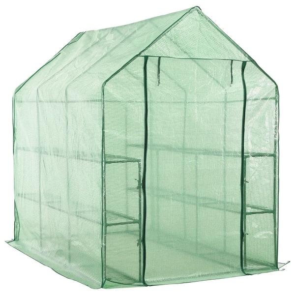 vidaXL Walk-in Greenhouse with 12 Shelves Steel 4.7'x7'x6.4'. Opens flyout.