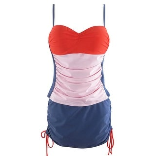 QZUnique Women's Three Piece Swimsuit Color Patchwork Tankini with Skirt & Briefs Swimwear Strappy Bikini