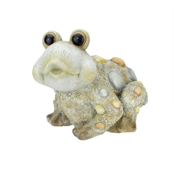 "15.35"" Weathered Sand Gray Stone-Inspired Frog Outdoor Patio Garden Statue"