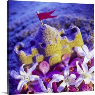 """""""A sand castle and orchid flowers"""" Canvas Wall Art"""