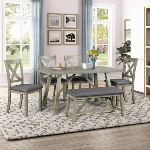 6 Piece Dining Table Set Wood Dining Table and Chair with Table, Bench and 4 Chairs Rustic Style Gray