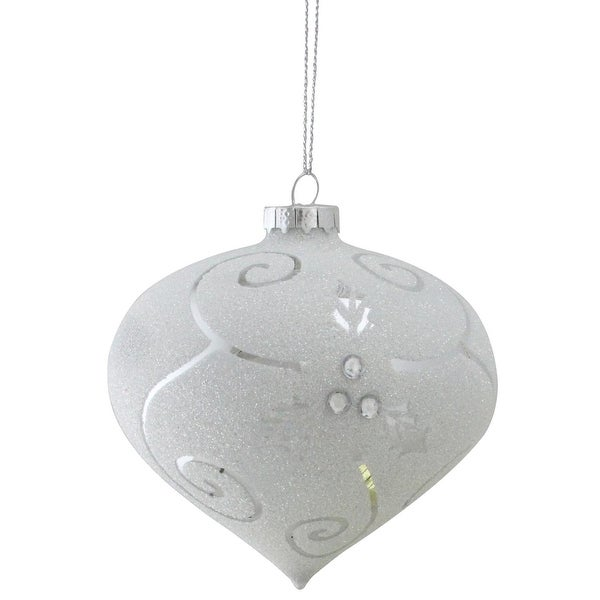 """4.5"""" Glittering White and Shiny Silver Holly Leaf Swirl Onion Decorative Christmas Ornament"""