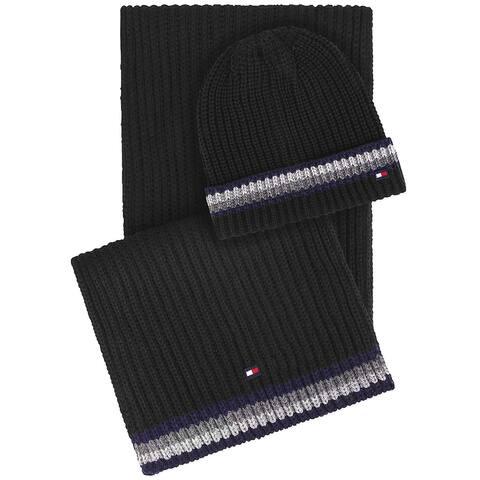 Tommy Hilfiger Mens Global Stripe Border Hat & Scarf Set Black