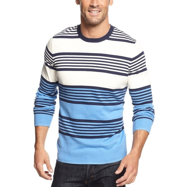 John Ashford Striped Colorblock Crewneck Sweater Blue and Beige X-Large - XL