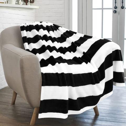 Black and White Striped Printed Soft Fleece Throw