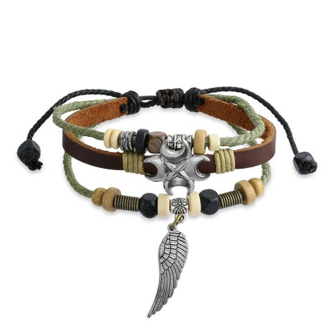 Angel Wing Feather Charm Brown Leather Rope Strand Surf Bracelet