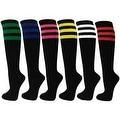 Women Triple Striped Black Knee High Socks(6 different stripes color) - Thumbnail 0