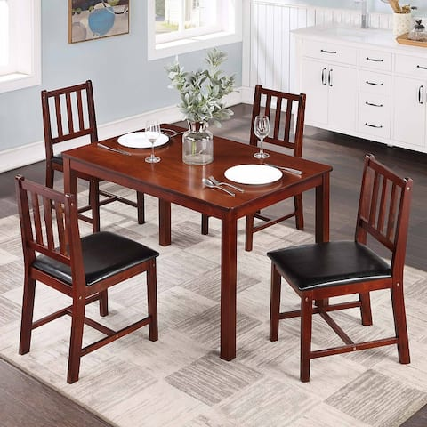 """Modern Rectangle Brown Rubber Wooden Table Set of 5 for Dining Room - L42.5""""*W25.5""""*H29"""""""