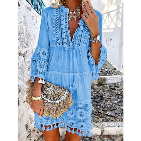 3/4 Sleeve V Neck Boho Dress In 4 Color Choices