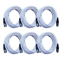 Seismic Audio - 6 Pack of White 25 Foot XLR Microphone Cables - 25' Mic Cords