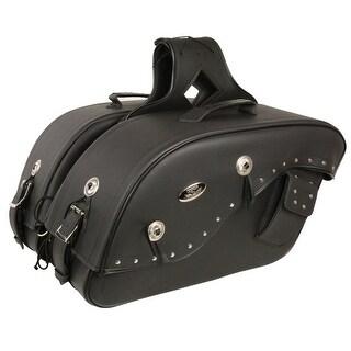 Black Leather Motorcycle Saddle Bags 20X13X7X25